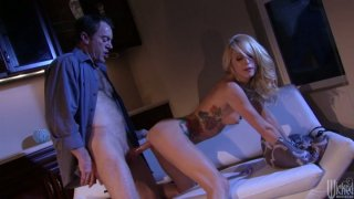Tattooed girlie Monique Alexander sucks a dick after the romantic dinner Preview Image