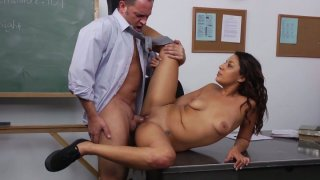 Young brunette Gigi Loren gets her pussy drilled on the table Preview Image