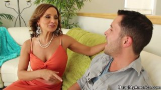 Cougar slut Rebecca Bardoux seduces the guy and gets his cock to suck deepthroat Preview Image