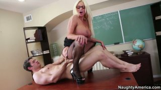 Ash blonde bitch Nikita Von James with huge boobs ride the dick fiercely Preview Image