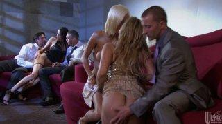 Party sluts Shyla Stylez, Jenny Hendrix and Kortney Kane blowjob orgy Preview Image