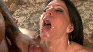 Ugly brunette whore Kendra Secrets pleases two cocks and gets fed with a double portion of jizz Preview Image