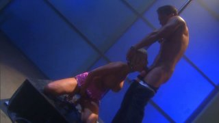 Busty stripper Carly Parker gets poked doggy near the vertical pole Preview Image
