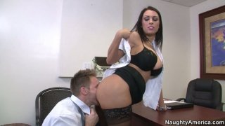 Slutty black haired secretary J Love gets poked doggy in the study Preview Image
