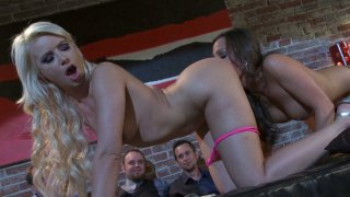 Lesbo_hoochies_Anikka_Albrite_and_Abigail_Mac_licking_pussies_on_public Preview Image