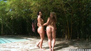 Kinky bitches Sarah Vandella and Ashli Orion demonstrate their asses and later bath in an pool Preview Image