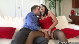 Horny brunette babe Alexis Grace gets seduced by witty guy Preview Image