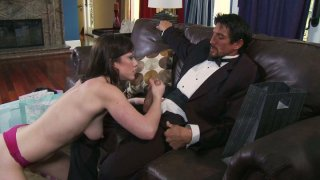 Dirty slut Jennifer White strokes Tommy Gunn's dick intensively and gets poked hard doggystyle Preview Image