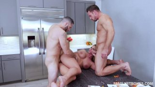 Thick ass milf fucks_with two_studs in the kitchen Preview Image