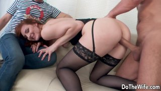 Tall Redhead Wife Irina Pavlova Drilled Next to Her Cuckold Husband Preview Image