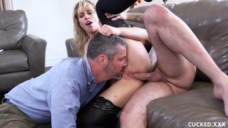 Wife in stocking fucks hard in front of her husband Preview Image