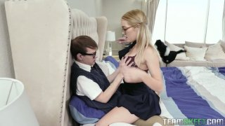 Blond teen in glasses Katie Kush seduces her nerd stepbrother Preview Image