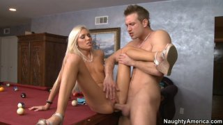 Flexible blonde nympho Kacey Jordan fucks on the pool table Preview Image