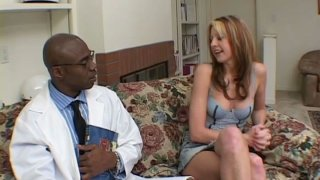 Touchy blonde cutie named Lisa Marie gives blowjob to her black fucker Preview Image