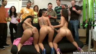 Skanky BangBros bitches Jada Stevens, Ava Addams and Christy Mack visit dorm Preview Image