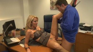 Blonde business woman Jessica Drake makes her man cum on her belly Preview Image