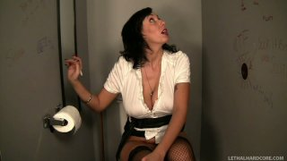 Hungry for cock Alia Janine sucks the dick in a public toilet Preview Image