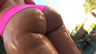 Bootyful Briella Bounce exposes her rounded butt and gives a head to Jon Jon Preview Image