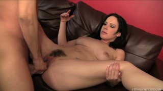 Fabulous brunette Katie St Ives works on the long dick of Scott Lyons Preview Image
