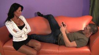 Business lady Lezley Zen shamelessly seduces young guy Bruce Venture Preview Image