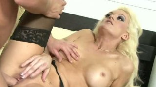 Bootylicious blond clown face Monica Mayhem pushes a fat cock into her mouth Preview Image