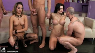 Orgy in the living room with Aleska Diamond and Aletta Ocean Preview Image