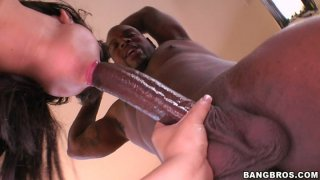 Black haired BBW beauty Kendra Star pleases two BBCs at the same time Preview Image