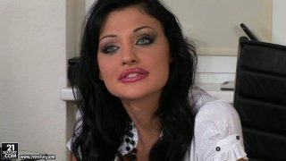 Dirty brunette housewife Aletta Ocean deepthroats in threesome Preview Image