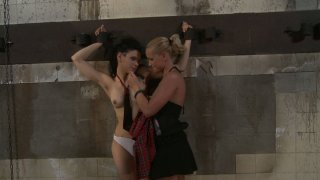Poor brunette bitch Miho Lechter gets abused by Kathia Nobili Preview Image