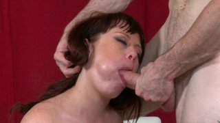 Fabulous MILF sucks and rides big young cock on the floor Preview Image