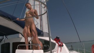 Hell seductive bitches Debbie White and Sinead please each other on yacht Preview Image