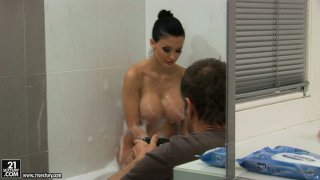 Alluring babe Aletta Ocean is filming in a solo action bathing in a bubbly spa Preview Image