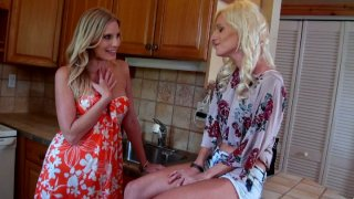 Skinny ugly shit Randi Tango with big nose fucks her girlfriend in the kitchen Preview Image