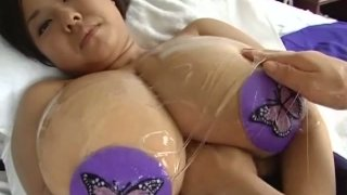 Nice view of BBW Japanese Fuko's enormous saggy oily boobies Preview Image
