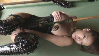 Latest trashytube ⁃ Kinky japanese brick house hitomi tanaka wears black leather uniform Preview Image