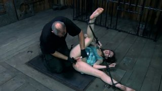 Restless slut Kristine Andrews is fingered hard being tied up. BDSM video Preview Image