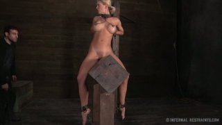 Lusty blonde mom Cyd Black sits on the wooded brick all naked Preview Image