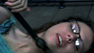Nerdy four eyed teen Kristine Andrews in her first BDSM session Preview Image