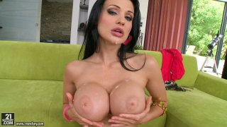 Magnificent brunette porn star Aletta Ocean gives double blowjob Preview Image