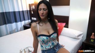 Ugly brunette whore Shanel with saggy tits shows her twins Preview Image