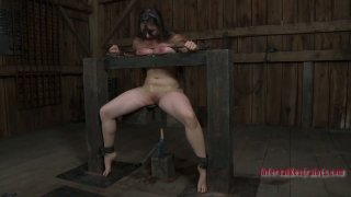 Plump pallid brunette gets handcuffed and undergoes BDSM session Preview Image