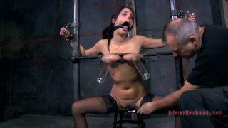 Dirty whore Lavender Rayne sucks on hard penis in BDSM act Preview Image
