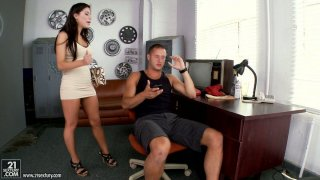 Seductive brunette Alexa Nicole provides a cock with a blowjob and footjob Preview Image