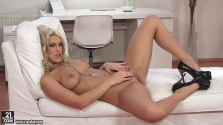Sizzling babe Blanche Bradburry films in a steamy solo video Preview Image