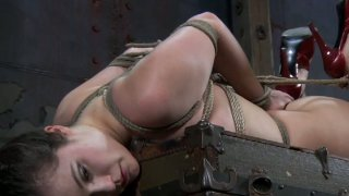 A bit plump brunette Charlotte Vale gets hogtied tight Preview Image