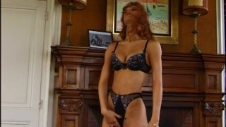 Red head slut Monica Rossi blows two cock and rides one actively Preview Image