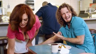 Busty redhead mature waitress flashes tits for a bigger tip Preview Image