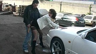 Clothed girl gets fucked on a car hood Preview Image