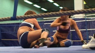 Angry lesbians Rihanna and Samuel Bellina have a wrestling fun Preview Image