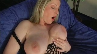 Cuddly blonde milf with oversized natural tits fucks her ass with dildo Preview Image